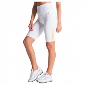 Gianni Kavanagh White Cycling Shorts With Fade Gold Print