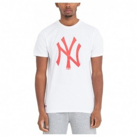 New Era Mlb Core Neon Logo Tee Pin Nyyank Whi