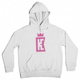 King Coast Kc Hoodie Basic Logo White-Pink