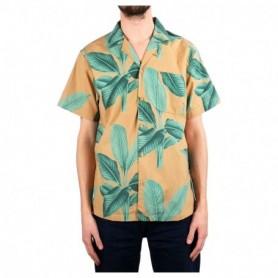 Dedicated Shirt Short Sleeve Marstrand Khaki Leaves